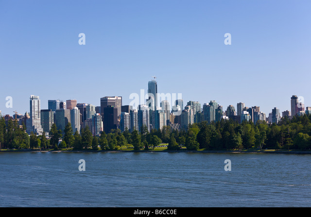 Stanley Park and Vancouver skyline 'British Columbia' Canada - Stock Image