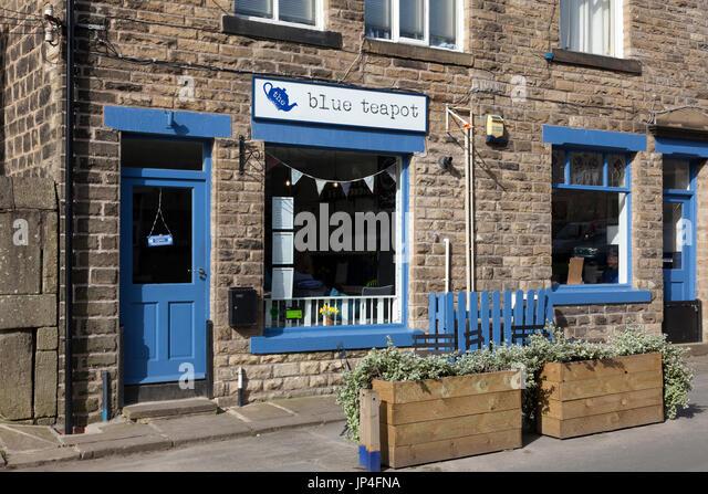 The Blue Teapot vegetarian café, Mytholmroyd, West Yorkshire - Stock Image