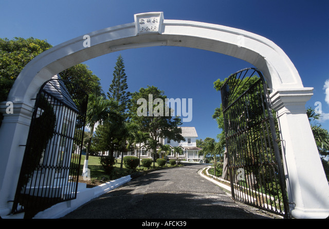 West Indies St. Lucia Castries House of Governor General arch entrance - Stock Image