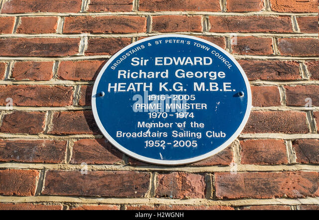 Blue Plaque Edward Ted Heath Prime Minister Broadstairs Sailing Club Broadstairs Kent - Stock Image