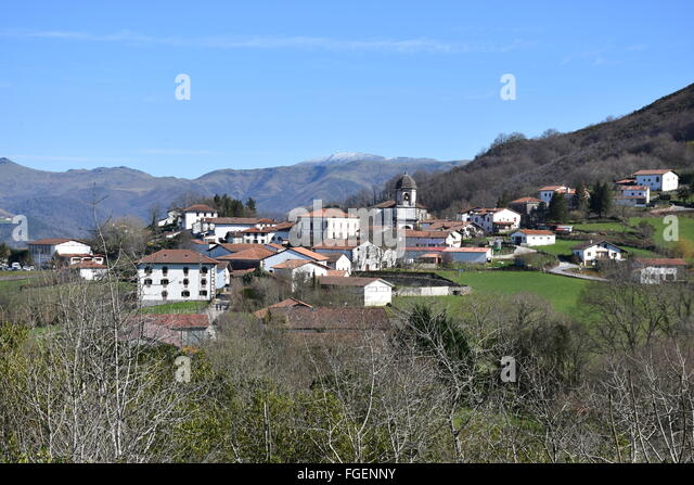 Zugarramurdi village Spain near the French border famous for witch trials and cave - Stock Image