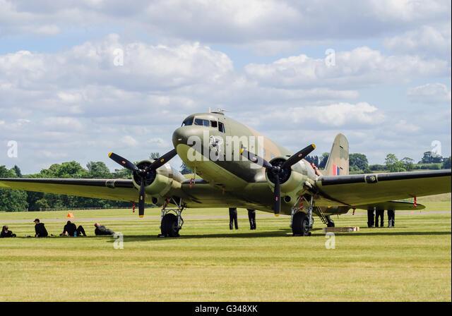 The Douglas C-47 Skytrain or Dakota a military transport aircraft - Stock Image
