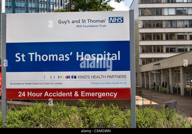 Guy's and St Thomas' hospital sign, Westminster London UK - Stock Image