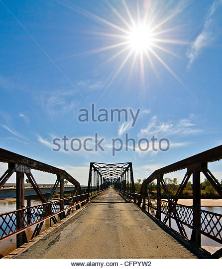Old Bridge over Cimarron River, Rural Kingfisher County, Oklahoma, Oct 31., 2010 - Stock Image