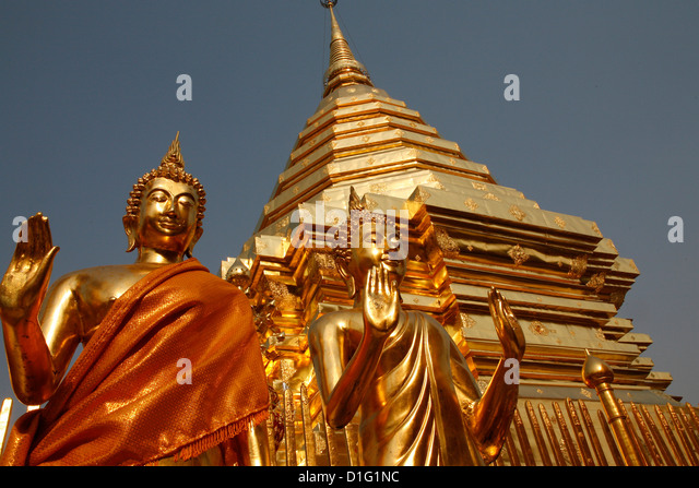 Statues and chedi in Doi Suthep temple, Chiang Mai, Thailand, Southeast Asia, Asia - Stock Image