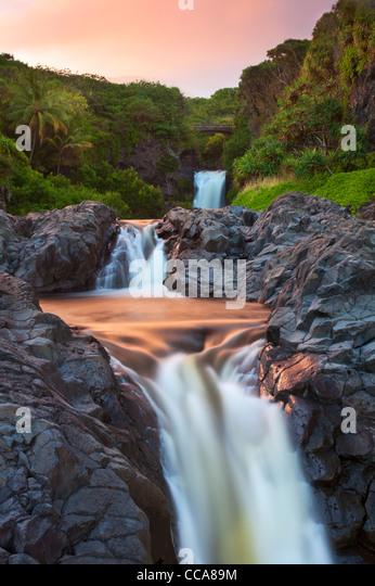 Ohe'o Gulch - aka Seven Sacred Pools, Haleakala National Park, near Hana, Maui, Hawaii. - Stock Image