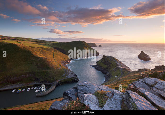 Boscastle Harbour at sunset, Cornwall, England. Summer (August) 2014. - Stock Image