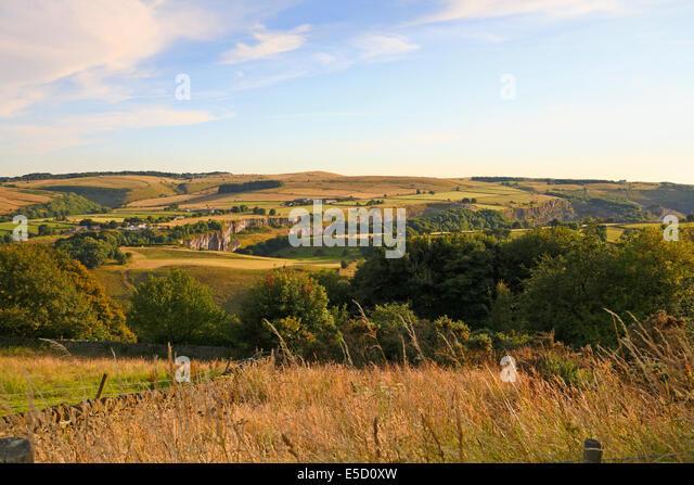 Quarrys at Stoney Middleton from Eyam, Derbyshire, Peak District National Park, England, UK. - Stock Image