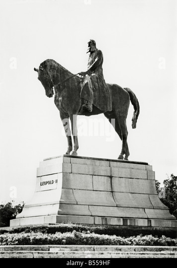 Statue (removed 1971) of Belgium's rapacious King Leopold II responsible for atrocities in the Congo he claimed - Stock-Bilder