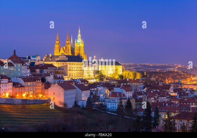 Gold Prague Castle at night, Czech Republic - Stock Image