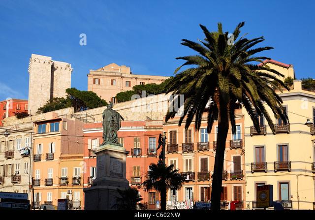 Old city center, Torre dell Elefante background , Cagliari , Italy Sardinia - Stock Image