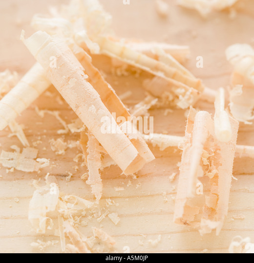 Close up of wood shavings - Stock Image