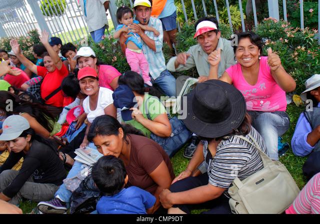 Peru Lima San Isidro Avenida Canaval y Moreyra protest demonstration Petroperu Petróleos del Perú Indigenous - Stock Image