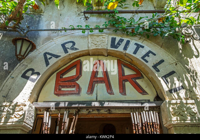 """sign over the entrance door of """"Bar Vitelli """" in savoca on the island of sicily, italy, the bar featured in the - Stock Image"""