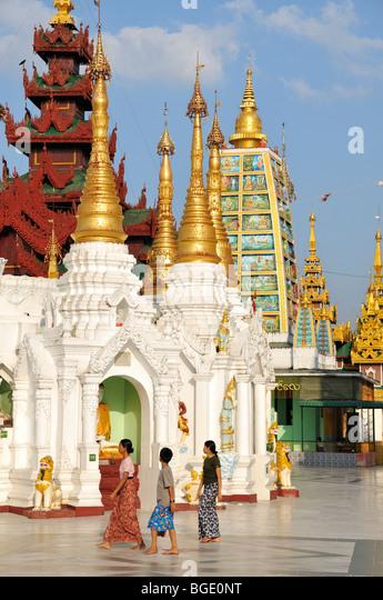 Stupas, Shwedagon Pagoda, Yangon, Burma, Myanmar - Stock-Bilder