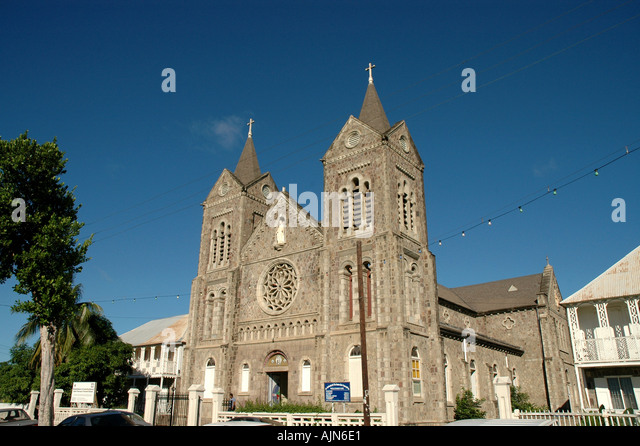 St Kitts Basseterre Church of the Immaculate Conception landmark building across from Independence Square - Stock Image