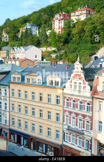 Aerial view of Old Town. Karlovy Vary, Czech Republic - Stock-Bilder