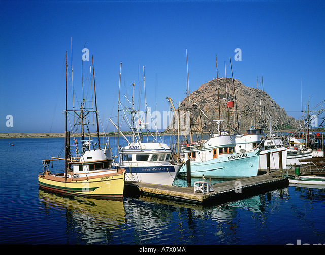 Morro rock fishing boats morro stock photos morro rock for Morro bay fishing