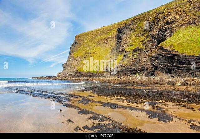 The beach at Crackington Haven on the North Cornwall coast England UK Europe - Stock Image