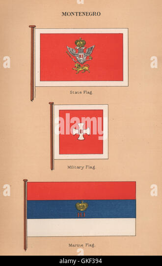 MONTENEGRO FLAGS. State Flag. Military Flag. Marine Flag, antique print 1916 - Stock Image