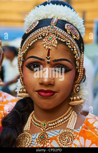 Dance show at Krishna Temple, Guruvayur, Kerala, India, Asia - Stock Image