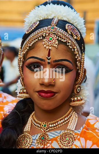 Dance show at Krishna Temple, Guruvayur, Kerala, India, Asia - Stock Image