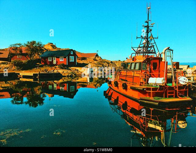 Pilot boat in Vasterhamn (west harbour) on the island of Oja at the southern end of the Stockholm archipelago, Sweden, - Stock Image