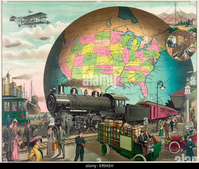 Twentieth century transportation. People, train, automobile, trolley, and truck at railroad station, with airplanes - Stock Image