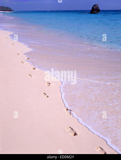 Footprints in the sand, Warwick Long Bay, Warwick, Bermuda - Stock Image