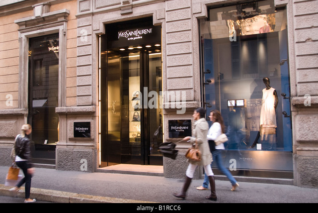 Yves Saint Laurent store in Via Monte Napoleone street in the Fashion area of Milan - Stock Image