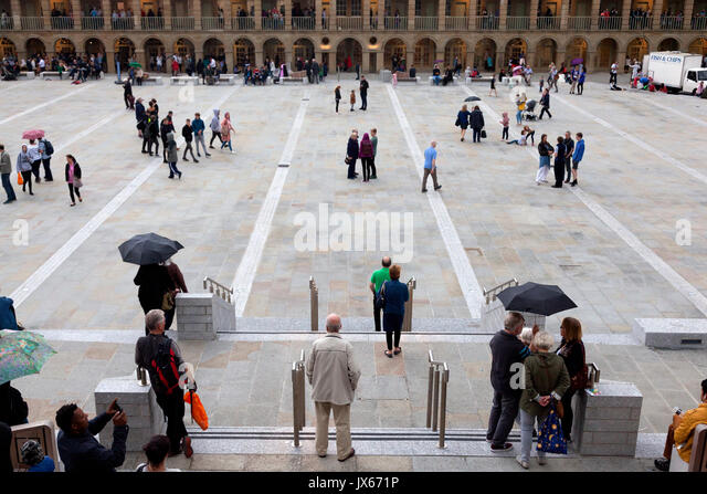 People at the Piece Hall for its re-opening celebration after refurbishment, Halifax, West Yorkshire - Stock Image
