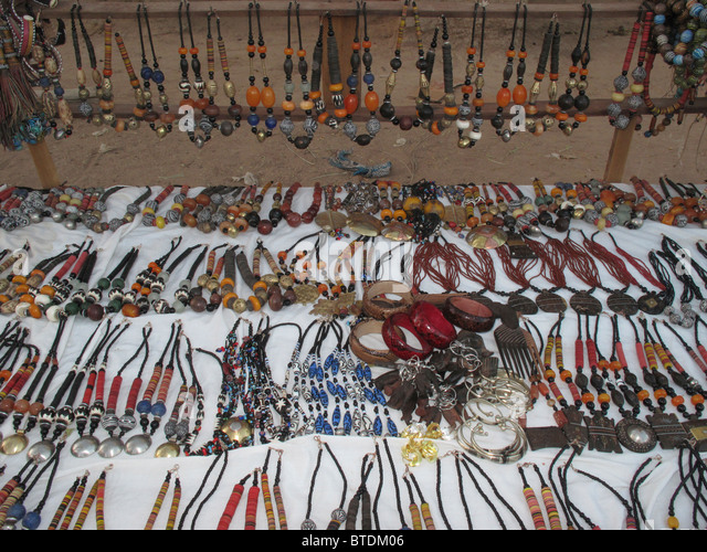 Beaded necklaces for sale and on display - Stock Image