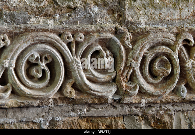 Anglo saxon stone carving stock photos