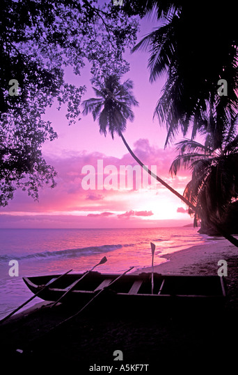 Dominican Republic Samana Peninsula sunset open space copy space text space type space - Stock Image