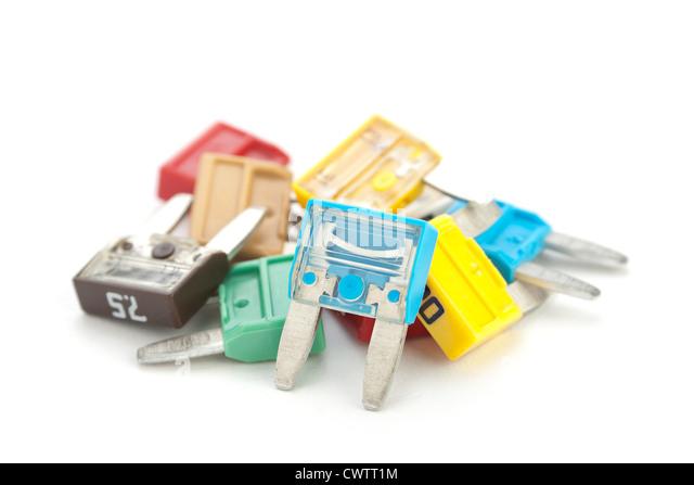 Auto fuse group isolated on white - Stock Image