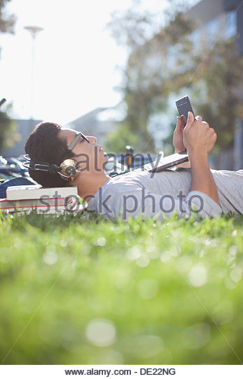 Man listening to music - Stock Image