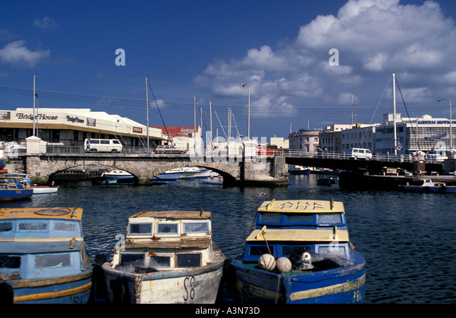 Barbados Bridgetown The Carenage with Old Flying Fish Boats - Stock Image
