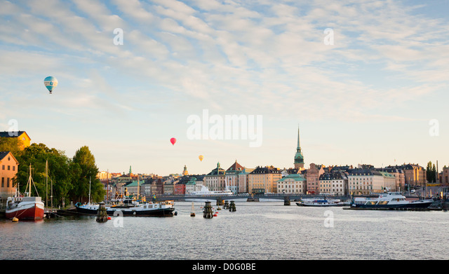 View of Stockholm city with three balloons - Stock Image