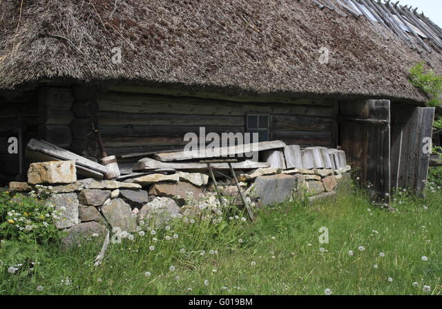 facade of an old historic farm, Estonia, Baltic Country, Europe - Stock Image