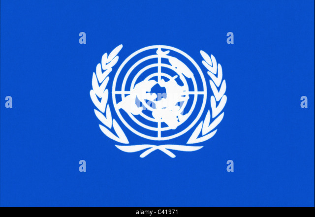 emblems and flags, flag of the United Nations (UN), computer graphics, flag, flags, blue background, clipping, cut - Stock-Bilder