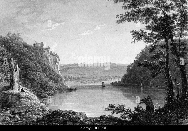 IDYLLIC SCENIC OF HARPER'S FERRY WEST VIRGINIA JUNCTION OF THE SHENANDOAH & POTOMAC RIVERS - Stock Image