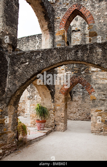 Ruin of the Convento Mission San Jose y San Miguel de Aguayo San Antonio Texas USA - Stock Image