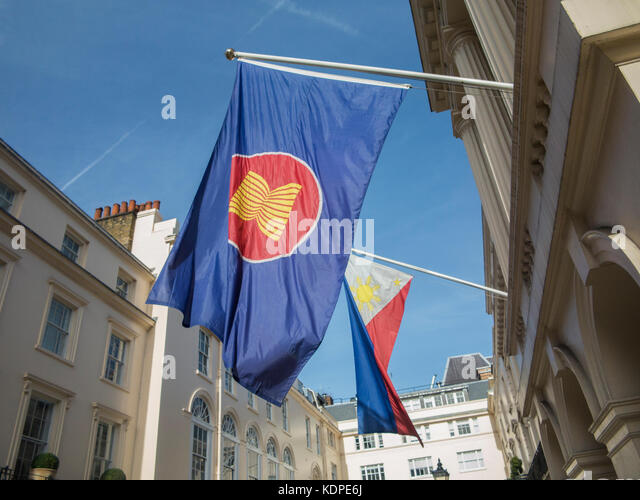 Phillipine embassy flags flying outside the London Headquarters - Stock Image