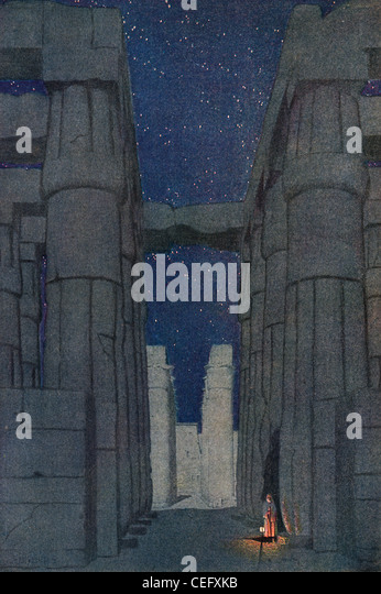 Plate 4, 'Temple of Luxor, ' by Jules Guerin, 1920, J. H. Jansen, Cleveland, Publisher. - Stock Image