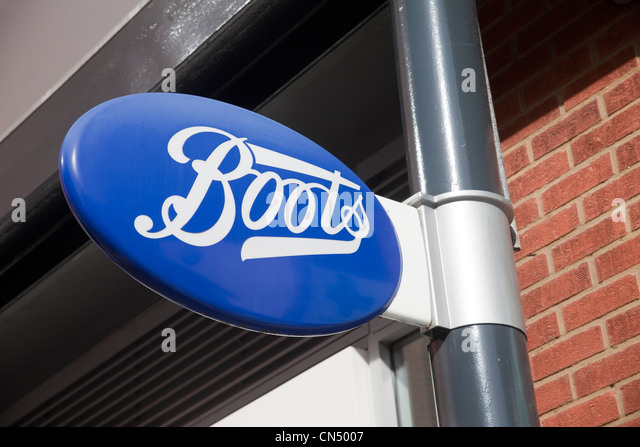 Boots the Chemist sign, UK - Stock Image