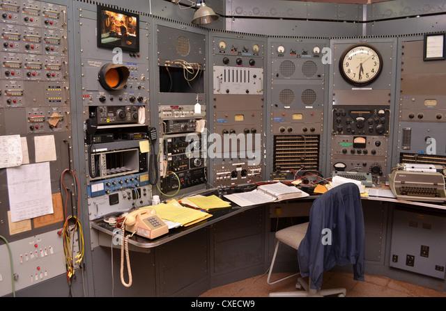 Control room at KPH/K6KPH radio at Bolinas California. KPH was a public coast radio station on the West Coast of - Stock Image