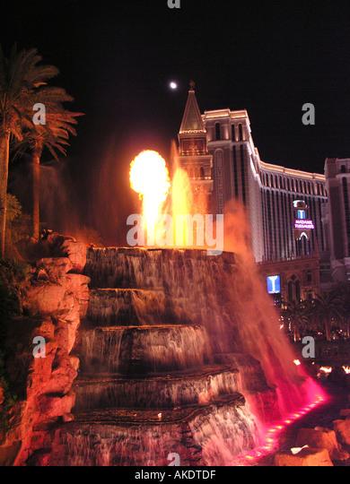 Las Vegas Nevada volcano eruption at Mirage Hotel - Stock Image