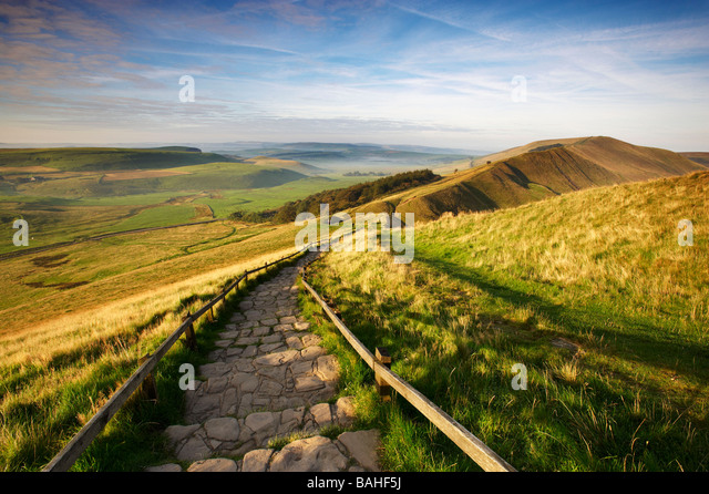 The path from Mam Tor leading to Rushup Edge,  Edale Valley in Derbyshire UK - Stock Image