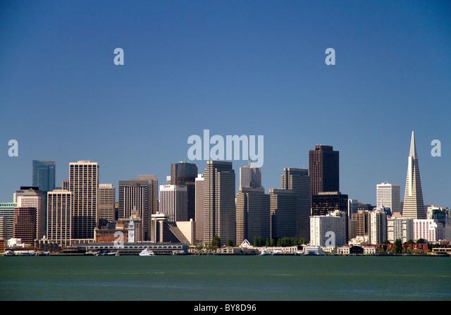 View of the city of San Francisco from Treasure Island, California, USA. - Stock Image