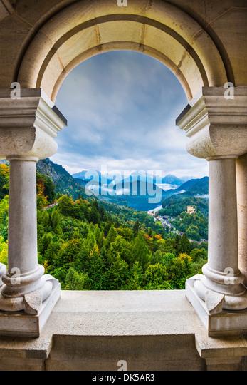 View from Neuschwanstein Castle in the Bavarian Alps of Germany. - Stock-Bilder